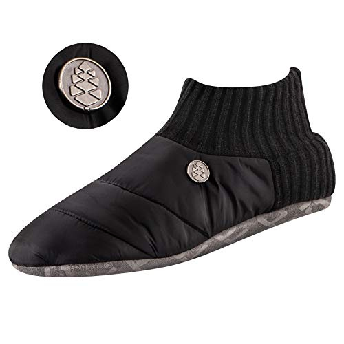 TCK Brands Happy Camper Black Cozy Quilted Slipper Socks with Memory Foam Cushion and Sherpa Lining from IQ