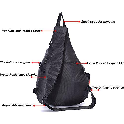 DDDH Large Sling Bags Crossbody Backpack 14.1-Inch Chest Daypack Travel Bag Book Bag for Men&Women(Black)