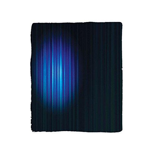 VROSELV Custom Blanket Navy Blue Single Hollywood Show Light Themed Theater Curtain Design Artwork Soft Fleece Throw Blanket Navy Blue and White