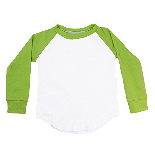(Dress Up Dreams Boutique Unisex Little Kids Lime Green Two Tone Long Sleeve Raglan Baseball T-Shirt 4T)
