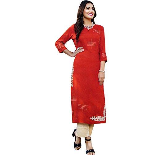 Ladyline Women's Cotton Kurta Long Kurti Tunic Evening Dress