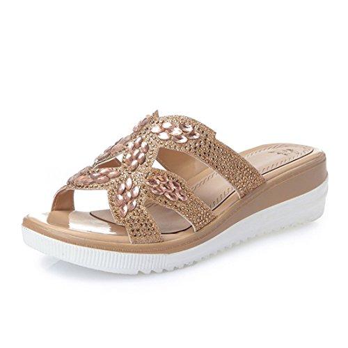 Sandalias Mujer De Edad Señoras Diamante Mediana Golden Fondo Damas Plano Zapatillas Zapatos OU1gdxd