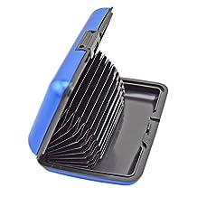 Noppor 12 Slots Aluma Wallet Multi Pockets Cards Holder Hard Case Organizing Box for Storage Credit Cards Name Cards Case Blue