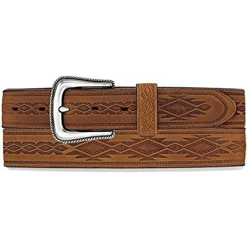 Tony Lama Men's Navajo Blanket Tooled Belt Brown 42