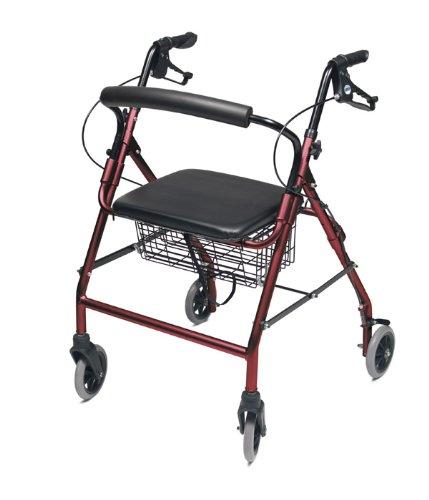 Lumex Walkabout de ancho cuatro rueda andador, 47cm, burdeos