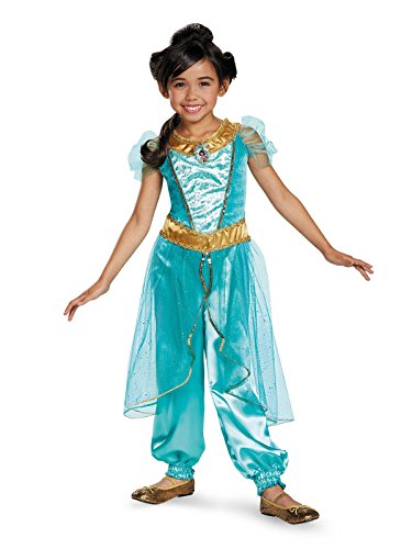Jasmine Deluxe Disney Princess Aladdin Costume, X-Small/3T-4T ()