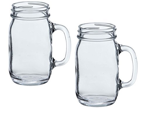 Anchor Hocking Glass Canning Mason Jar Mug with Handle for T