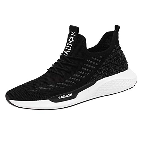 (【MOHOLL】 Men's Lightweight Sports Running Shoes Mesh Sneakers Breathable Fashion Woven Running Shoes Black)