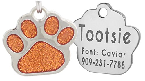 Laser Engraving Glitter Paw Pet ID Tags Custom Personalized for Dog & Cat Paw Print Tag - Laser Ornament Etched 4