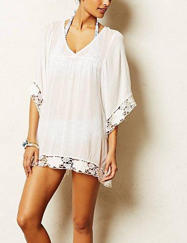 PU&PU Robes Légères Aux femmes Couleur Pleine Mousseline de soie , white-one-size , white-one-size