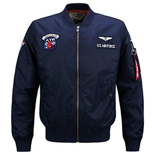 MRstriver Jacket Men New MA-1 Flight Jacket Pilot Air Force Male Ma1 Army Green Military Motorcycle Jackets Coats 6XL,YA591 Dark Blue XXL