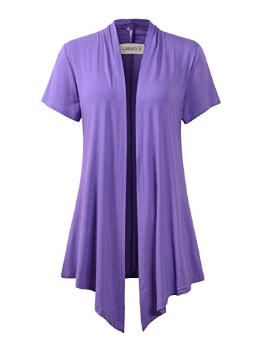 LARACE Women Cardigan Open Front Lighiweight Short Sleeve Drape Cardigans(S, Violet) ()