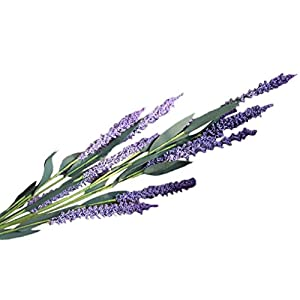 Artificial Fake Flowers, Cywulin Vintage Handmade Purple Lavender Plant Arrangement Lifelike Natural Looking Fake Plant Stems for House Office Farmhouse Garden Patio Wedding Indoor Outdoor Decoration 12