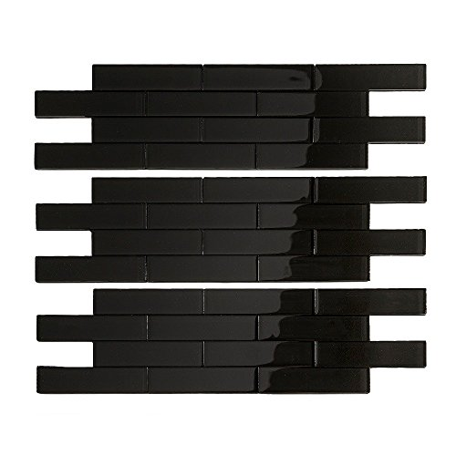 Stick Ceramic Tiles Peel And (Aspect Peel and Stick Backsplash 12.5in x 4in Subway Ebony Matted Glass Tile for Kitchen and Bathrooms (3-pack))