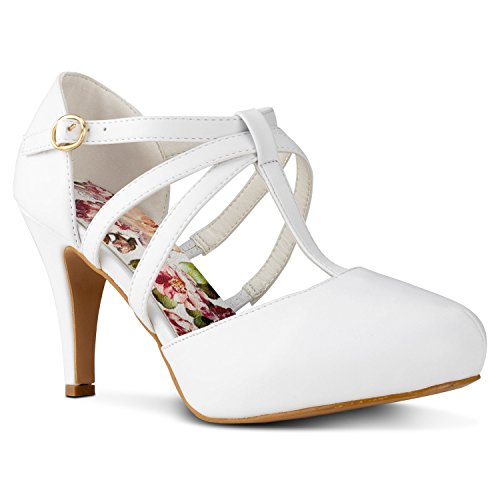 RF ROOM OF FASHION Coco-22 Women's Vegan D'Orsay Mary Jane T-Strap Mid Heel Dress Platform Pumps Shoes White (1/2 Inch Sexy Platform)