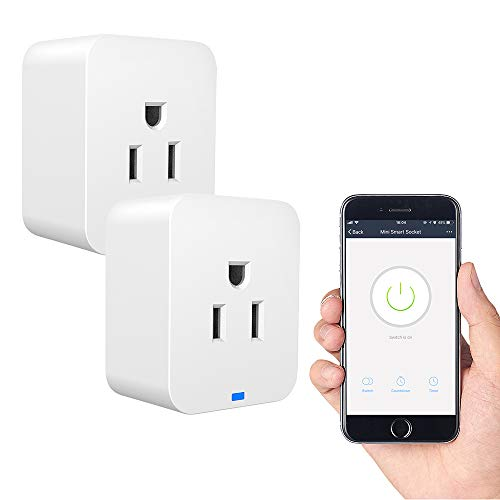 2 Pack WiFi Plug, Mini Smart WiFi Outlet Works with Voice Activated Alexa Echo and Google Home Assistant, Remote Control Compatible with iOS/Android Smart Phones/Tablets