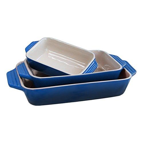 Le Creuset 3 Piece Marseille Blue Stoneware Rectangular Casserole Dish Set
