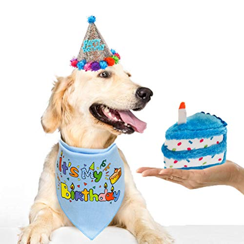 HOMIMP Dog Birthday Bandana Set with Hat & Squeaky Cake Toy - Dog Birthday Party Supplies Outfit and Gift, Great for Small Medium Large Dogs