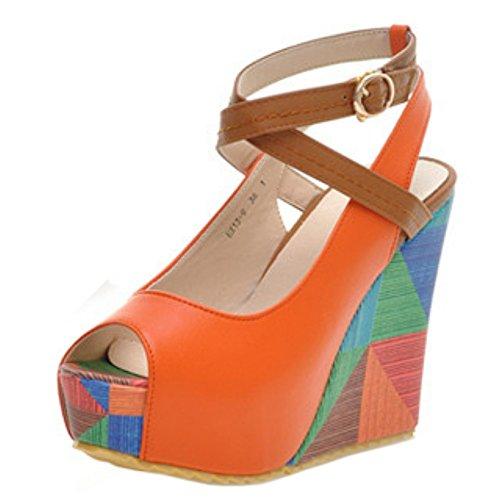 TAOFFEN Mujer Moda Peep Toe Sandalias Tacon De Cuna Tacon Alto Plataforma Al Tobillo Zapatos Naranja