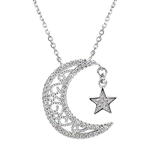 (EVER FAITH 925 Sterling Silver CZ Bling Crescent Moon and Star Pendant Necklace Clear)