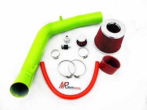 99 00 01 02 03 04 05 Volkswagon Golf Jetta GTi 1.8T / 2.0L GREEN Piping Cold Air Intake System Kit with Red Filter