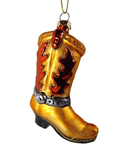 Western Boots Glass Ornament - Glass Western Brown Red Cowboy Boot Christmas Tree Ornament