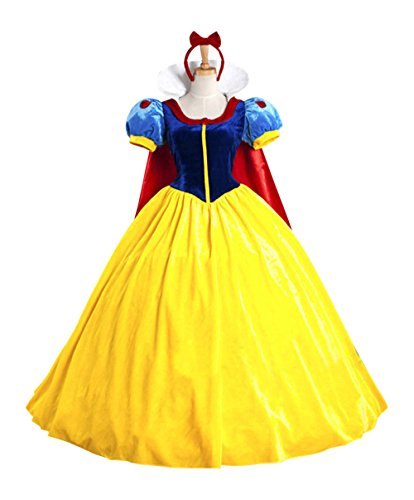 Teen Disney Princess Costumes (Snow White Princess Costume Cosplay Dress & Headband Party Teens & Adult S-L (S))