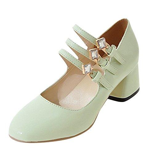 YE Damen Mary Jane Pumps Blockabsatz High Heels mit Riemchen und Strass Elegant Schuhe Grün