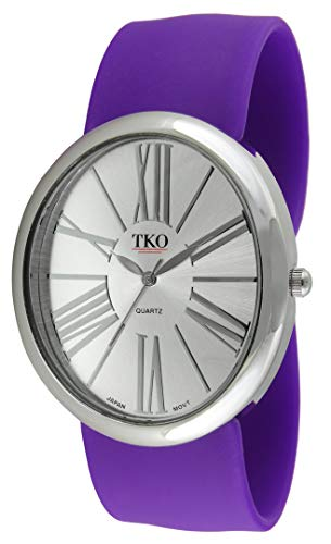 TKO Women Oversized Silver Wrist Slap Watch with Roman Numerals & Silicone Slip-On Bracelet with Magnetic Closure