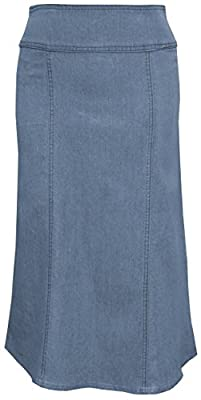 Baby'O Women's Stretch Denim Below The Knee Length Panel Skirt