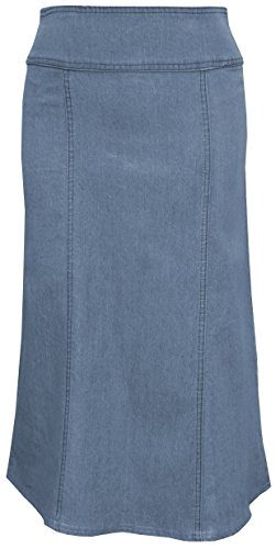 (Baby'O Women's Stretch Denim Below The Knee Length Panel Skirt)