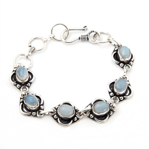 Moonstone Silver Brooch (Sitara Collections SC1388 Handmade Bracelet, Silver-Plated Rainbow Moonstone)