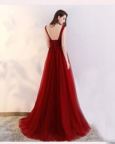 d9f91df7b3507f ... Abendkleider Tüll Langes Perlen A-linie Damen Rot Sptize Ballkleier 36  Für Schwanger Blume V ...