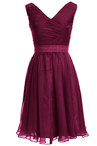 MACloth Women V Neck Rucked Bodice Short Bridesmaid Dress Wedding Party Gown Wine Red