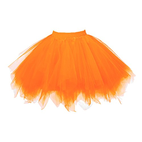 (Topdress Women's 1950s Vintage Tutu Petticoat Ballet Bubble Skirt (26 Colors) Bright Orange)