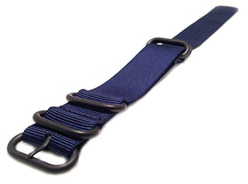 Wrist & Style Nylon ZULU Watch Strap (24mm, Blue/Black Loops) by Wrist & Style (Image #1)