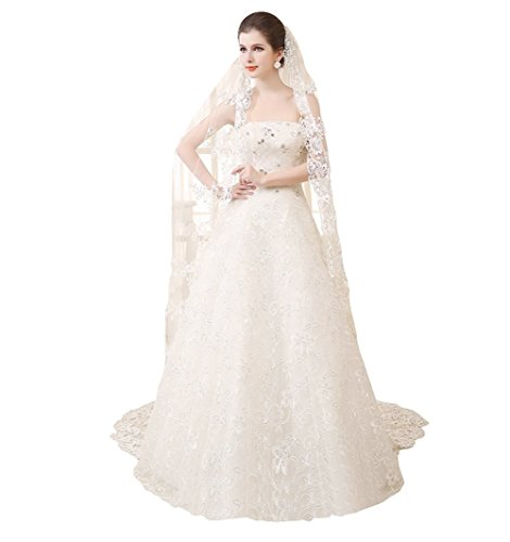 Dobelove Women's 1 Tier Long Wedding Cathedral Veils Bridal Accessories (White) - Embroidery Veil