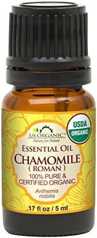 US Organic 100% Pure Chamomile (Roman) Essential Oil - USDA Certified Organic, Steam Distilled - W/Euro Dropper (More Size Variations Available) (5 ml / 1/6 fl oz)