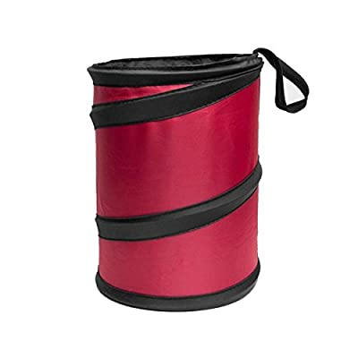 FH Group FH1120RED Auto Car Trash Can Portable Collapsible Car Trash Can Waterproof Garbage Container Small, Red Color: Automotive