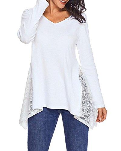 ACHIOOWA Sexy Women Blouse V Neck Tops Long Sleeve Casual Loose Shirt Lace Crochet Tunic Tops
