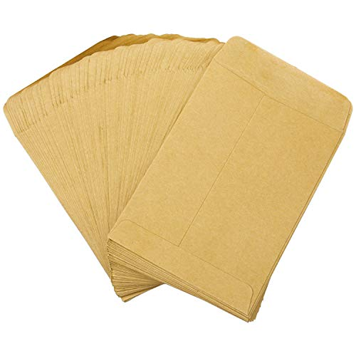 Aneco 120 Pack Self Sealing Seed Envelopes Kraft Self-Adhesive Seed Storage Packets Coin Packets Envelopes for Wedding, Home or Garden