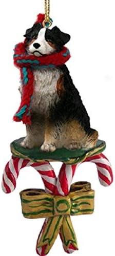 AUSTRALIAN SHEPHERD DOG CHRISTMAS ORNAMENT HOLIDAY XMAS Figurine Scarf Pet Tri