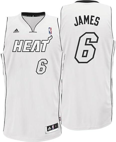 Amazon Com Lebron James 6 Miami Heat White Hot Jersey Sports Fan Jerseys Clothing