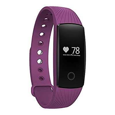 Heart Rate Monitor Smartband,007plus Bluetooth 4.0 Smart Bracelet smart band Heart Rate Monitor Wristband Fitness Tracker D107 for Android iOS Smartphone (Purple)
