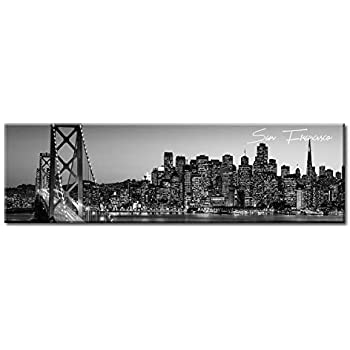 San Francisco Skyline CITY  Canvas Art Print Box Framed Picture Wall Hanging BBD