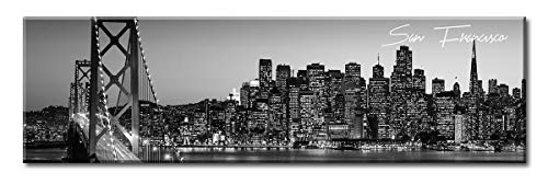 DJSYLIFE Black and White Panoramic San Francisco Cityscape Picture Wall Decor Stretched Canvas Art Prints for Bedroom or Office Framed and Ready to Hang 13.8