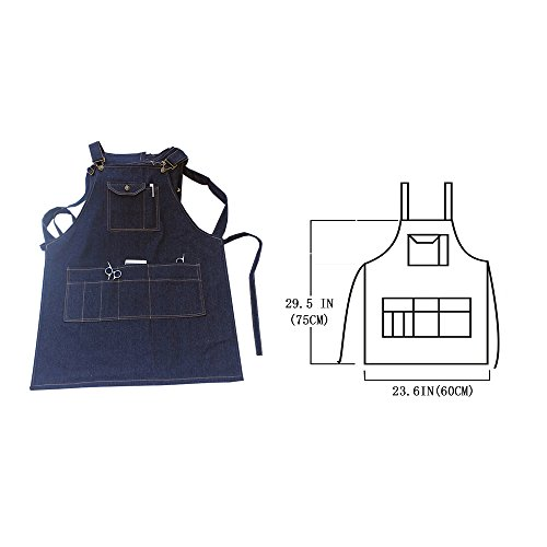 boshiho Denim Jean Work Apron, Adjustable Heavy Duty Work Apron Chef Apron with Cross-Back Straps (Blue) by boshiho (Image #2)