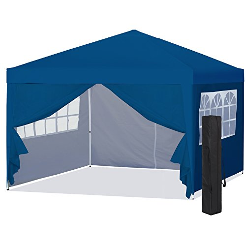 Best Choice Products 10x10ft Portable Pop Up Canopy Tent w/Detachable Window Walls, Zip-Up Doorway, Carrying Bag - Blue