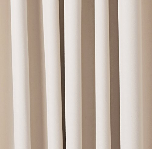 شراء AmazonBasics Room Darkening Thermal Insulating Blackout Curtain Set with Tie Backs - 52 x 63 Inches, Beige (2 Panels)