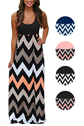 Womens Tank Top Long Maxi Dresses Summer Boho Empire Chevron Tank Top Casual Beach Dresses (A-Black 2(New), ()